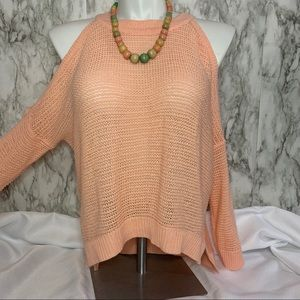 Peach loose knit cold shoulder sweater
